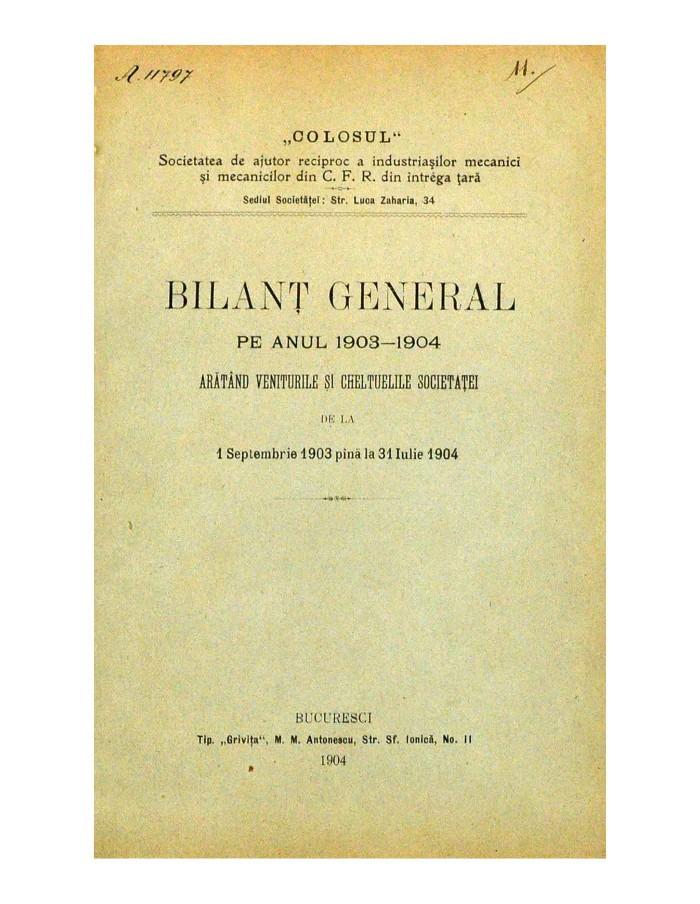 Bilant General Pe Anul 1903-1904